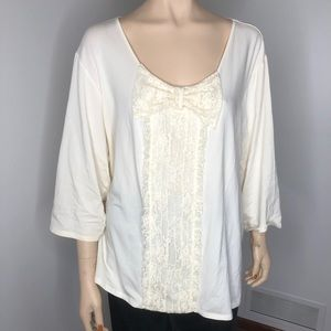 Erin Fetherston bow front cream top plus size 3X